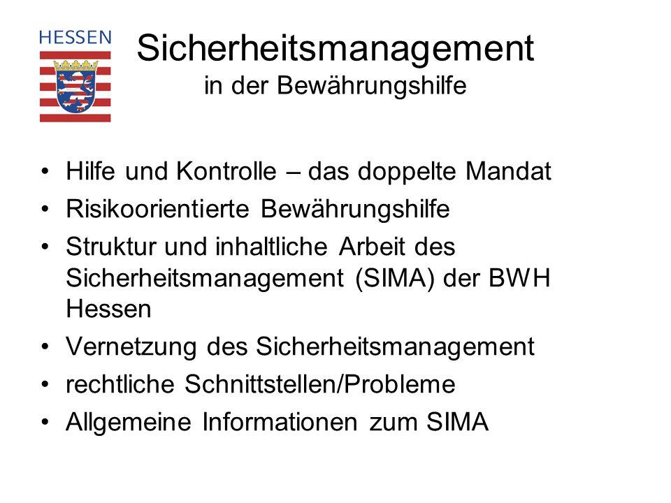 Hilfe und Kontrolle – das doppelte Mandat Risikoorientierte Bewährungshilfe Struktur und inhaltliche Arbeit des Sicherheitsmanagement (SIMA) der BWH H