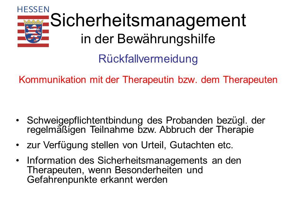 Sicherheitsmanagement in der Bewährungshilfe Rückfallvermeidung Kommunikation mit der Therapeutin bzw. dem Therapeuten Schweigepflichtentbindung des P