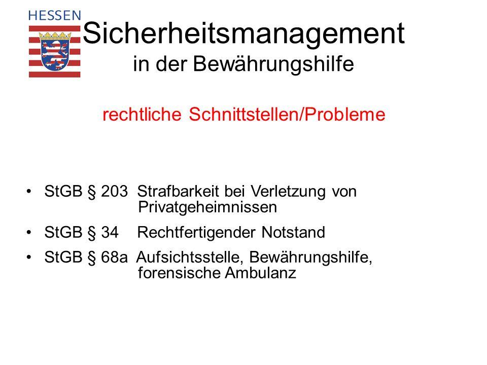 Sicherheitsmanagement in der Bewährungshilfe rechtliche Schnittstellen/Probleme StGB § 203 Strafbarkeit bei Verletzung von Privatgeheimnissen StGB § 3