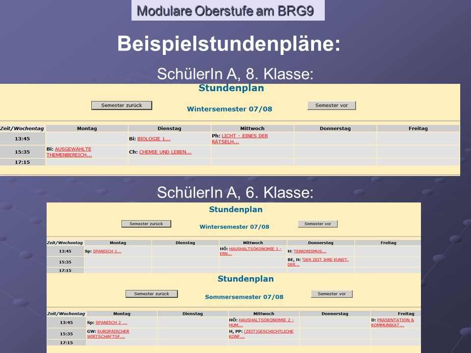 Modulare Oberstufe am BRG9 Beispielstundenpläne: SchülerIn A, 8. Klasse: SchülerIn A, 6. Klasse: