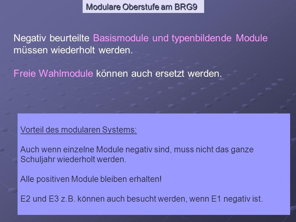 Modulare Oberstufe am BRG9 Negativ beurteilte Basismodule und typenbildende Module müssen wiederholt werden.