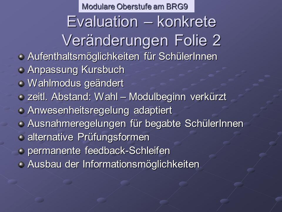 Modulare Oberstufe am BRG9 Negativ beurteilte Module: -> Umstellung auf Semester-Einteilung: Wiederholungsprüfungen * Ende Februar / Anfang März für neg.