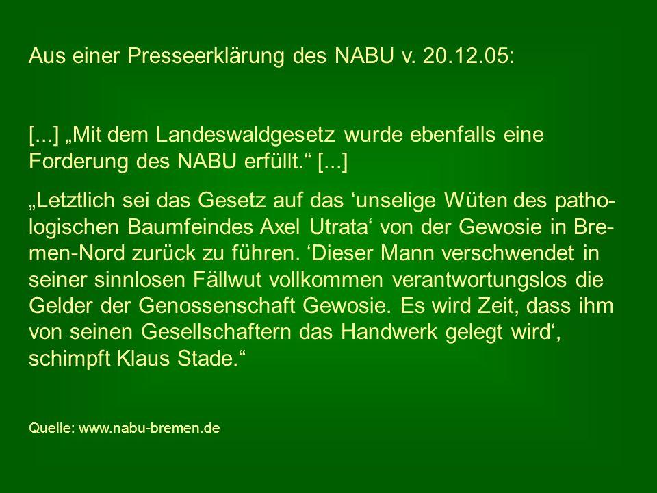 Aus einer Presseerklärung des NABU v. 20.12.05: [...] Mit dem Landeswaldgesetz wurde ebenfalls eine Forderung des NABU erfüllt. [...] Letztlich sei da