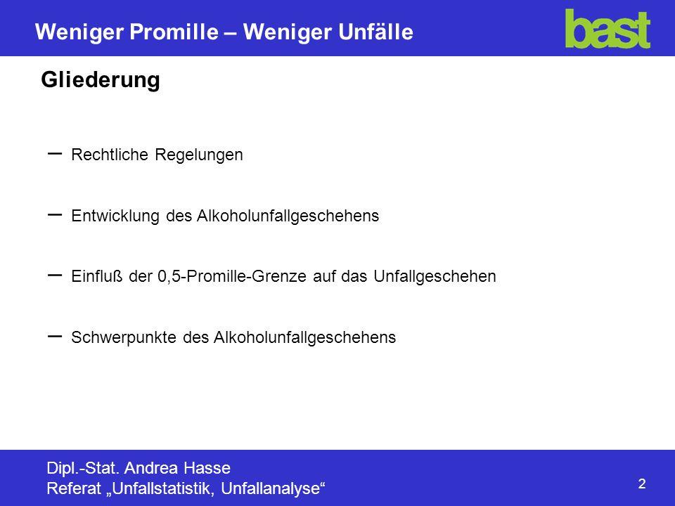13 Weniger Promille – Weniger Unfälle Dipl.-Stat.