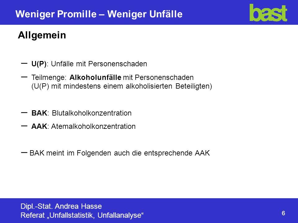 6 Weniger Promille – Weniger Unfälle Dipl.-Stat.