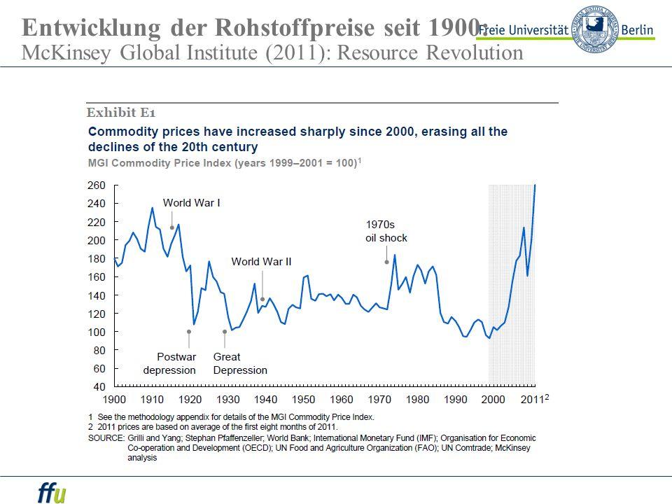 Entwicklung der Rohstoffpreise seit 1900: McKinsey Global Institute (2011): Resource Revolution