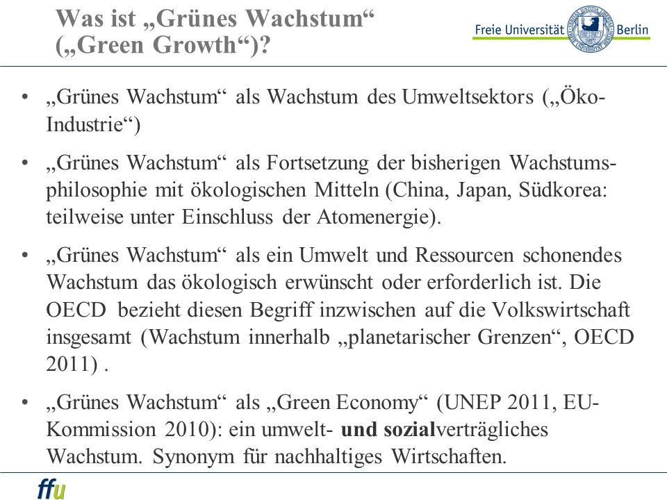 Was ist Grünes Wachstum (Green Growth)? Grünes Wachstum als Wachstum des Umweltsektors (Öko- Industrie) Grünes Wachstum als Fortsetzung der bisherigen