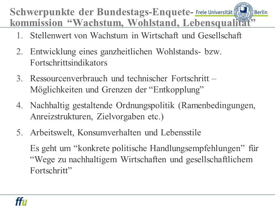 Schwerpunkte der Bundestags-Enquete- kommission Wachstum, Wohlstand, Lebensqualität 1.Stellenwert von Wachstum in Wirtschaft und Gesellschaft 2.Entwic