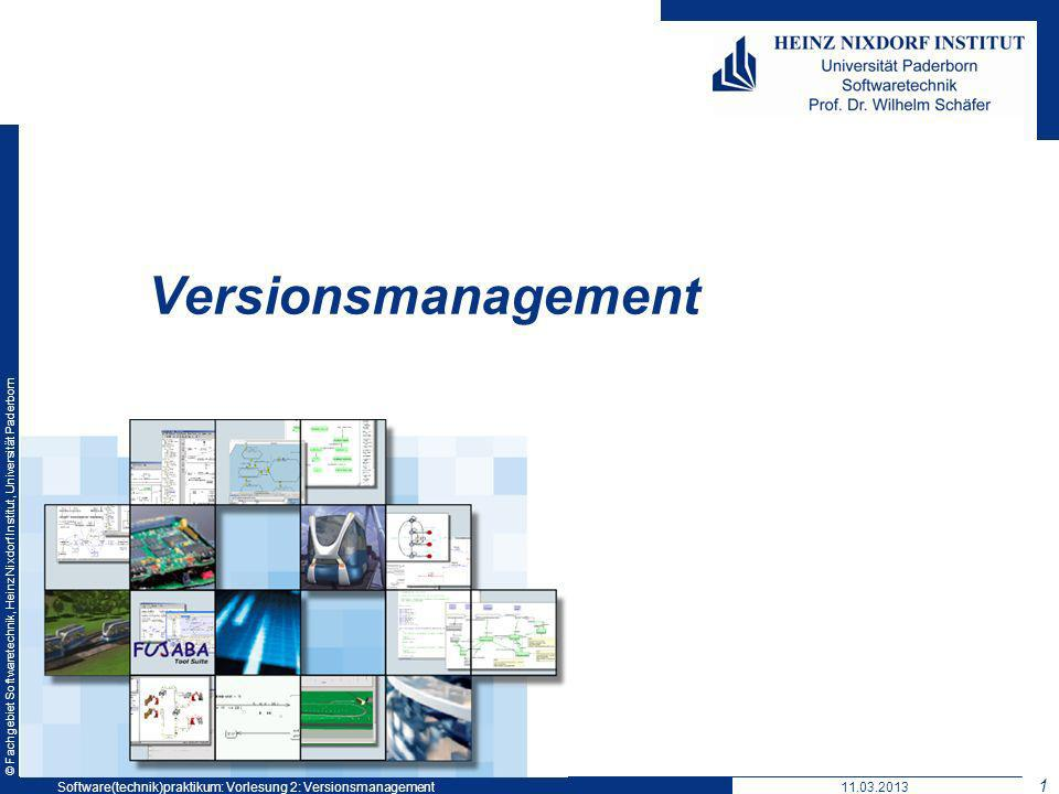 © Fachgebiet Softwaretechnik, Heinz Nixdorf Institut, Universität Paderborn Optimistischer Ansatz Commit-Unterbindung v100 Versions- verwaltungs- system v100* v100 11.03.2013Software(technik)praktikum: Vorlesung 2: Versionsmanagement 22