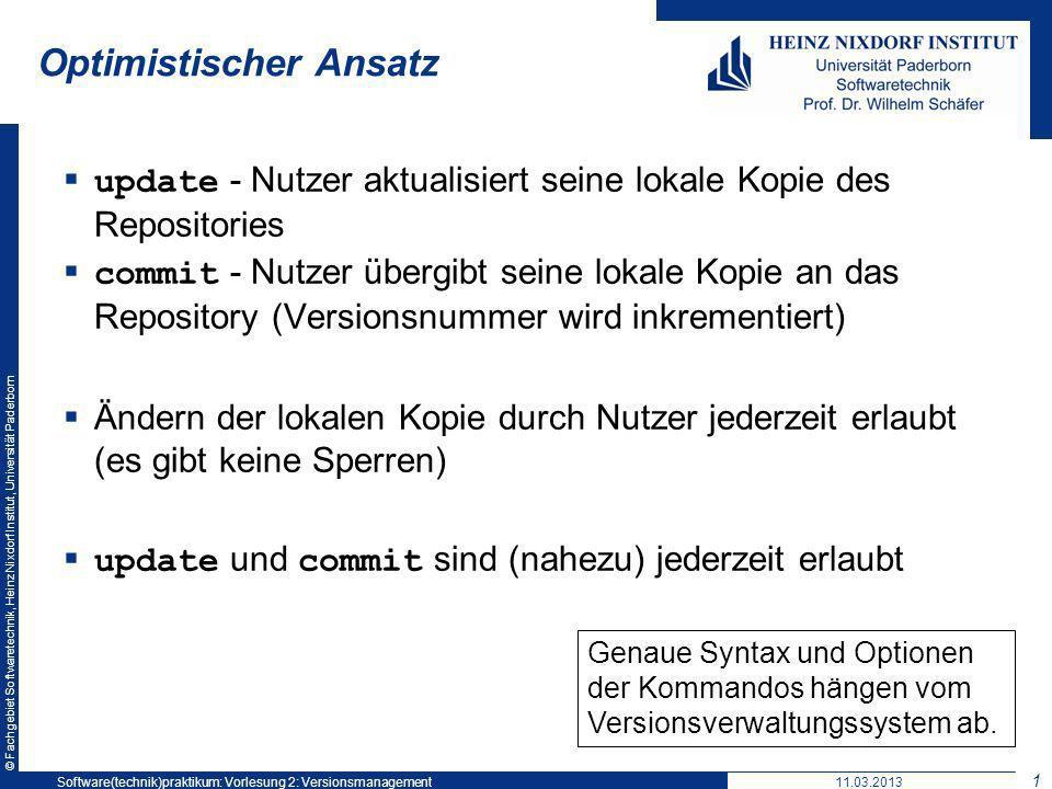 © Fachgebiet Softwaretechnik, Heinz Nixdorf Institut, Universität Paderborn Optimistischer Ansatz update - Nutzer aktualisiert seine lokale Kopie des