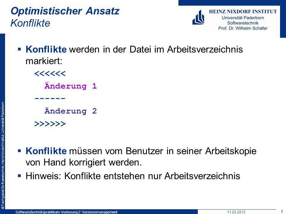 © Fachgebiet Softwaretechnik, Heinz Nixdorf Institut, Universität Paderborn Optimistischer Ansatz Konflikte Konflikte werden in der Datei im Arbeitsve