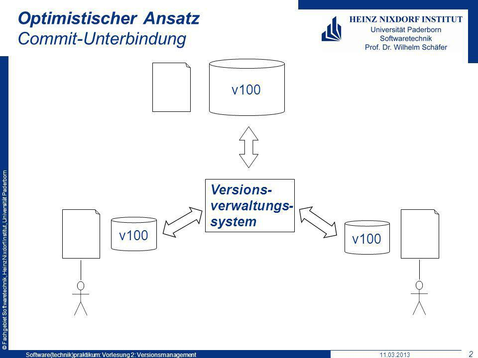 © Fachgebiet Softwaretechnik, Heinz Nixdorf Institut, Universität Paderborn Optimistischer Ansatz Commit-Unterbindung v100 Versions- verwaltungs- system v100 11.03.2013Software(technik)praktikum: Vorlesung 2: Versionsmanagement 21