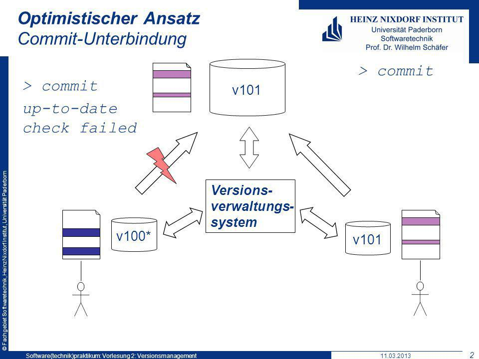 © Fachgebiet Softwaretechnik, Heinz Nixdorf Institut, Universität Paderborn Optimistischer Ansatz Commit-Unterbindung v101 Versions- verwaltungs- system v100* v101 > commit up-to-date check failed 11.03.2013Software(technik)praktikum: Vorlesung 2: Versionsmanagement 23