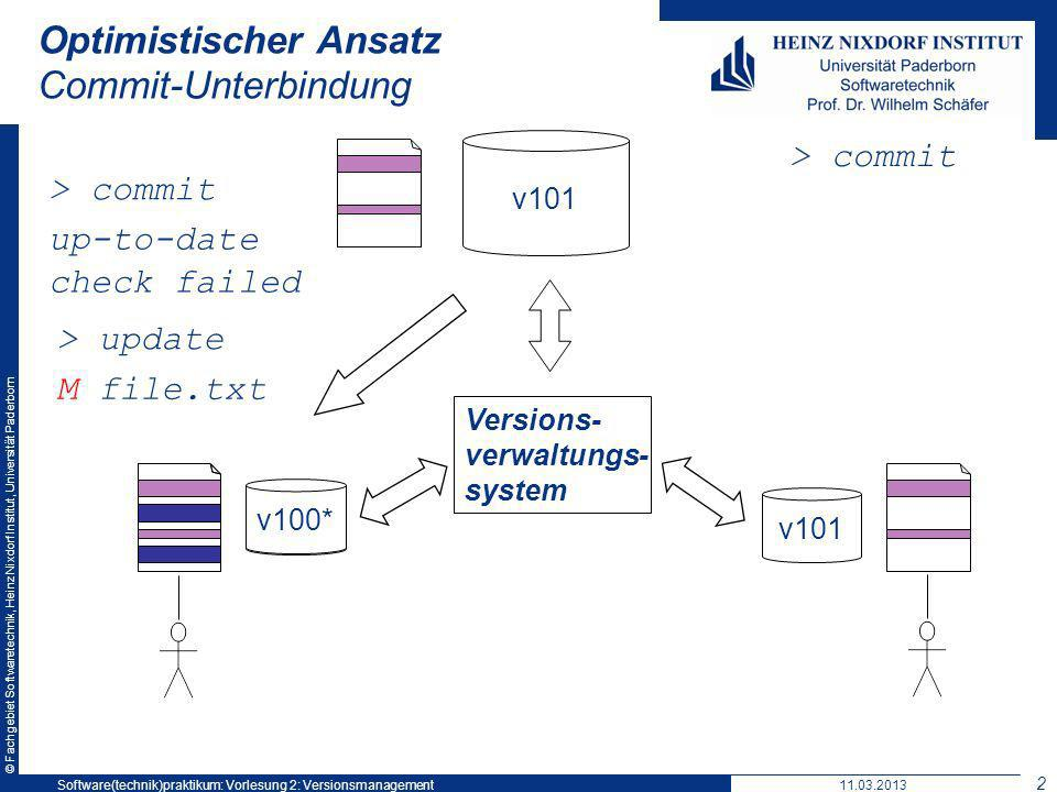 © Fachgebiet Softwaretechnik, Heinz Nixdorf Institut, Universität Paderborn Optimistischer Ansatz Commit-Unterbindung v101 Versions- verwaltungs- system v101* v101 > commit up-to-date check failed > update M file.txt v100* 11.03.2013Software(technik)praktikum: Vorlesung 2: Versionsmanagement 24