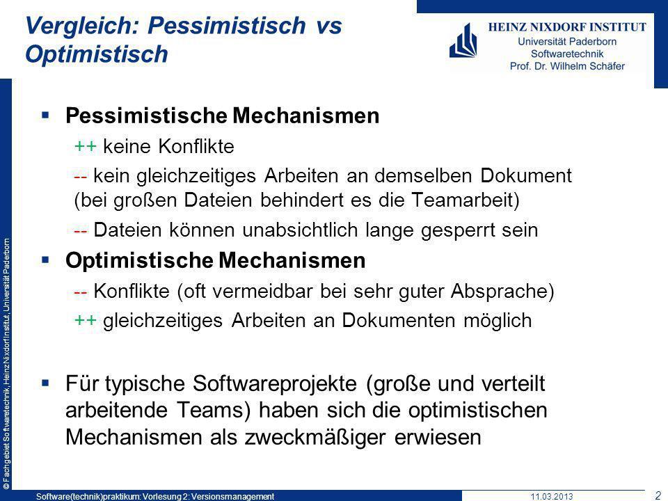 © Fachgebiet Softwaretechnik, Heinz Nixdorf Institut, Universität Paderborn Vergleich: Pessimistisch vs Optimistisch Pessimistische Mechanismen ++ kei