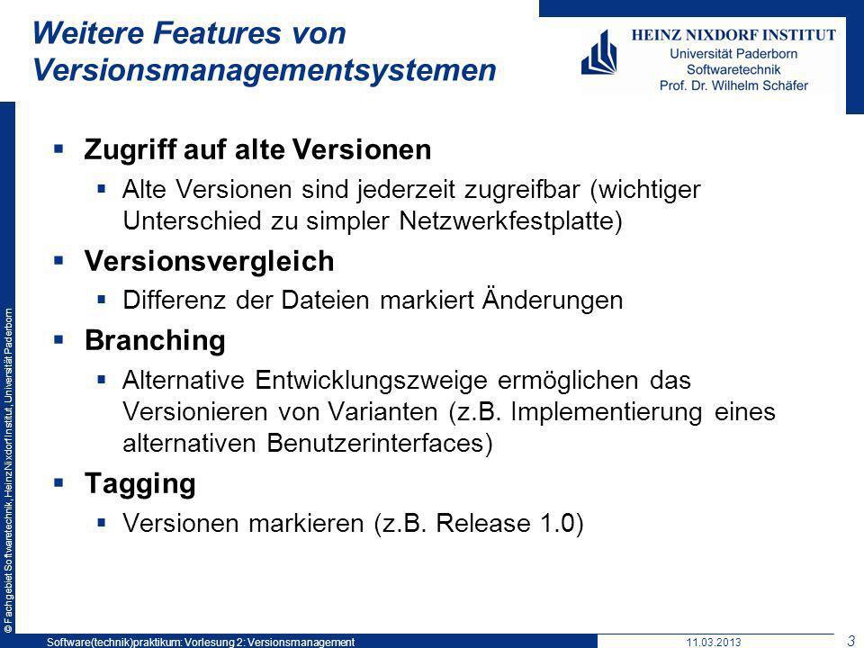 © Fachgebiet Softwaretechnik, Heinz Nixdorf Institut, Universität Paderborn Weitere Features von Versionsmanagementsystemen Zugriff auf alte Versionen