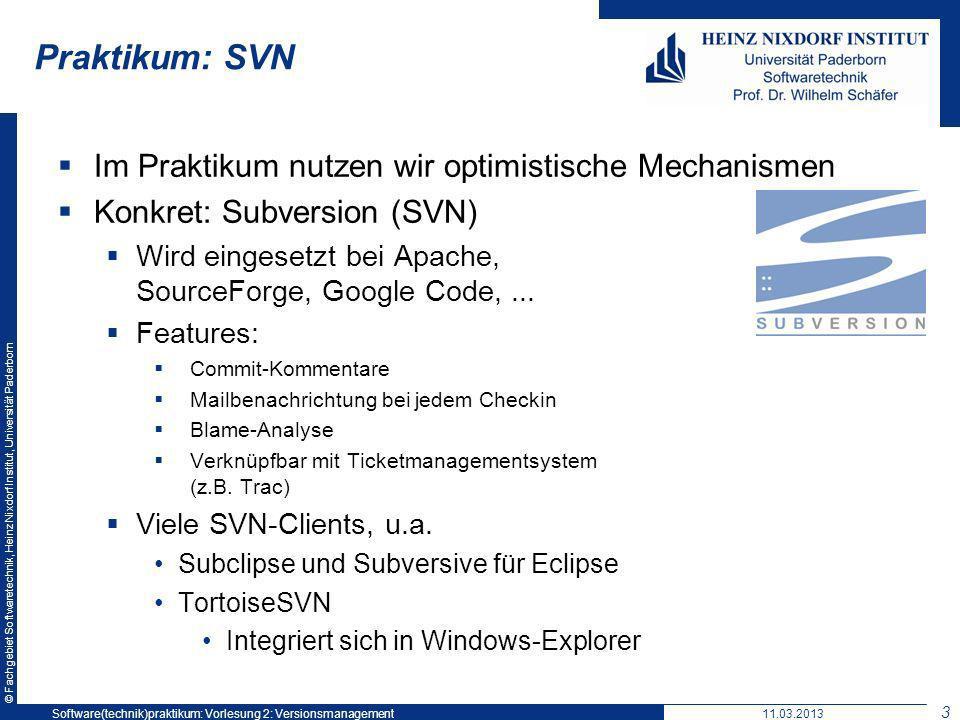 © Fachgebiet Softwaretechnik, Heinz Nixdorf Institut, Universität Paderborn Praktikum: SVN Im Praktikum nutzen wir optimistische Mechanismen Konkret: