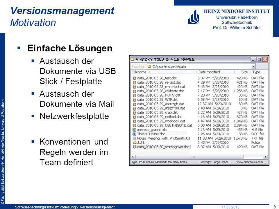 © Fachgebiet Softwaretechnik, Heinz Nixdorf Institut, Universität Paderborn Unterstützung für Versions- management in Eclipse 26 Software(technik)praktikum: Vorlesung 211.03.2013Software(technik)praktikum: Vorlesung 2: Versionsmanagement 26