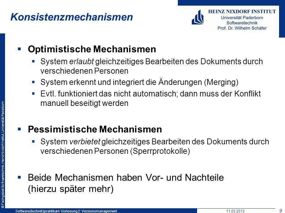 © Fachgebiet Softwaretechnik, Heinz Nixdorf Institut, Universität Paderborn Konsistenzmechanismen Optimistische Mechanismen System erlaubt gleichzeiti