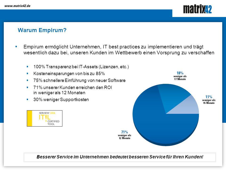 Warum Empirum? Empirum ermöglicht Unternehmen, IT best practices zu implementieren und trägt wesentlich dazu bei, unseren Kunden im Wettbewerb einen V