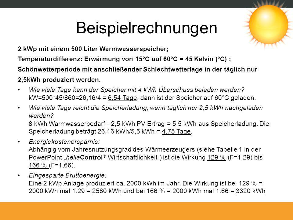Beispielrechnungen 2 kWp mit einem 500 Liter Warmwasserspeicher; Temperaturdifferenz: Erwärmung von 15°C auf 60°C = 45 Kelvin (°C) ; Schönwetterperiod