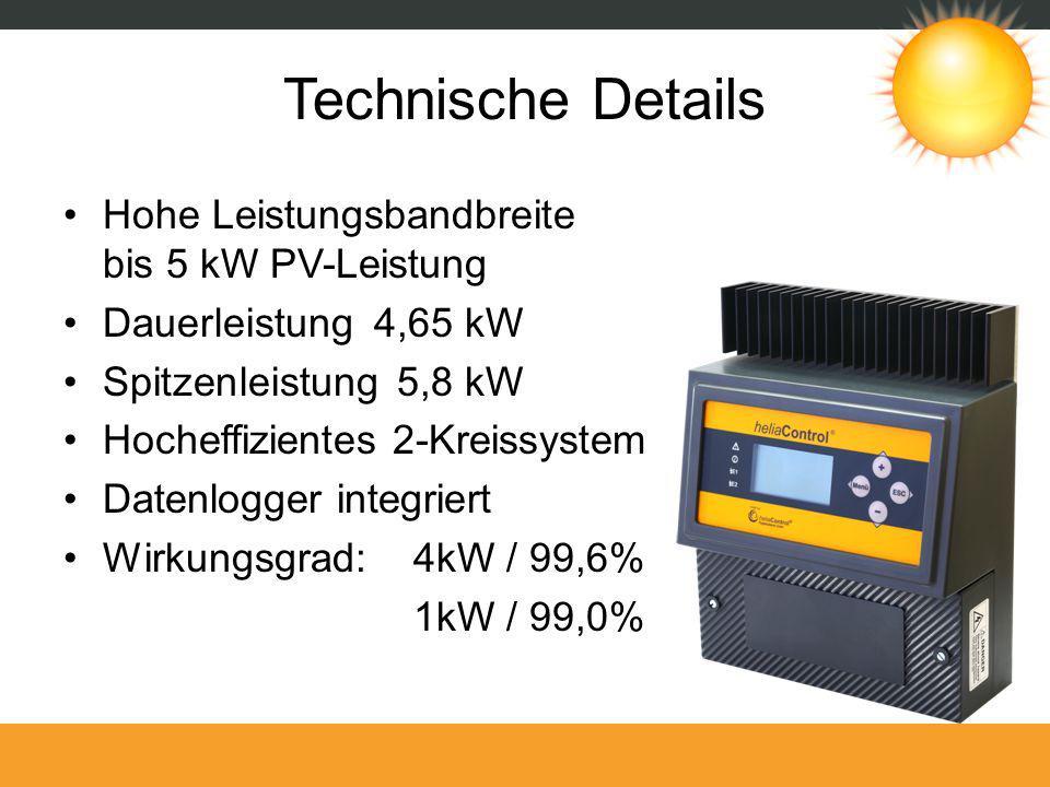 Technische Details Hohe Leistungsbandbreite bis 5 kW PV-Leistung Dauerleistung 4,65 kW Spitzenleistung 5,8 kW Hocheffizientes 2-Kreissystem Datenlogge