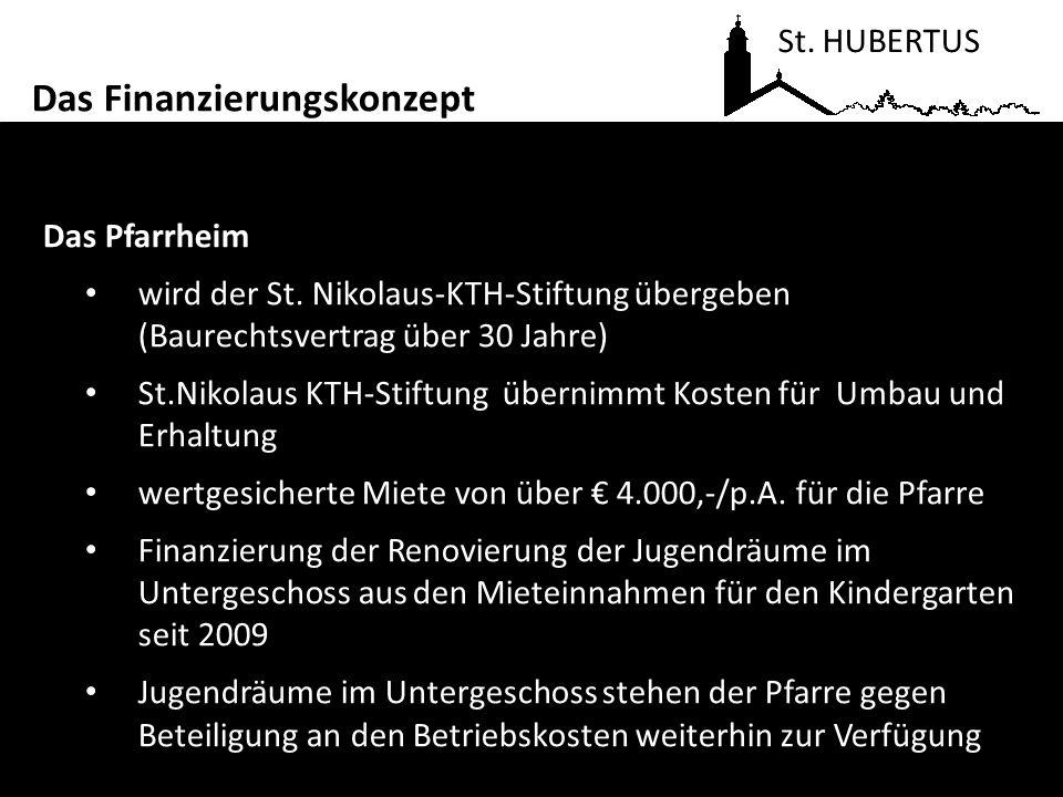 Das Pfarrheim wird der St. Nikolaus-KTH-Stiftung übergeben (Baurechtsvertrag über 30 Jahre) St.Nikolaus KTH-Stiftung übernimmt Kosten für Umbau und Er
