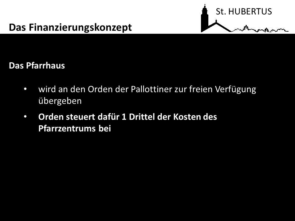 Das Pfarrhaus wird an den Orden der Pallottiner zur freien Verfügung übergeben Orden steuert dafür 1 Drittel der Kosten des Pfarrzentrums bei St. HUBE