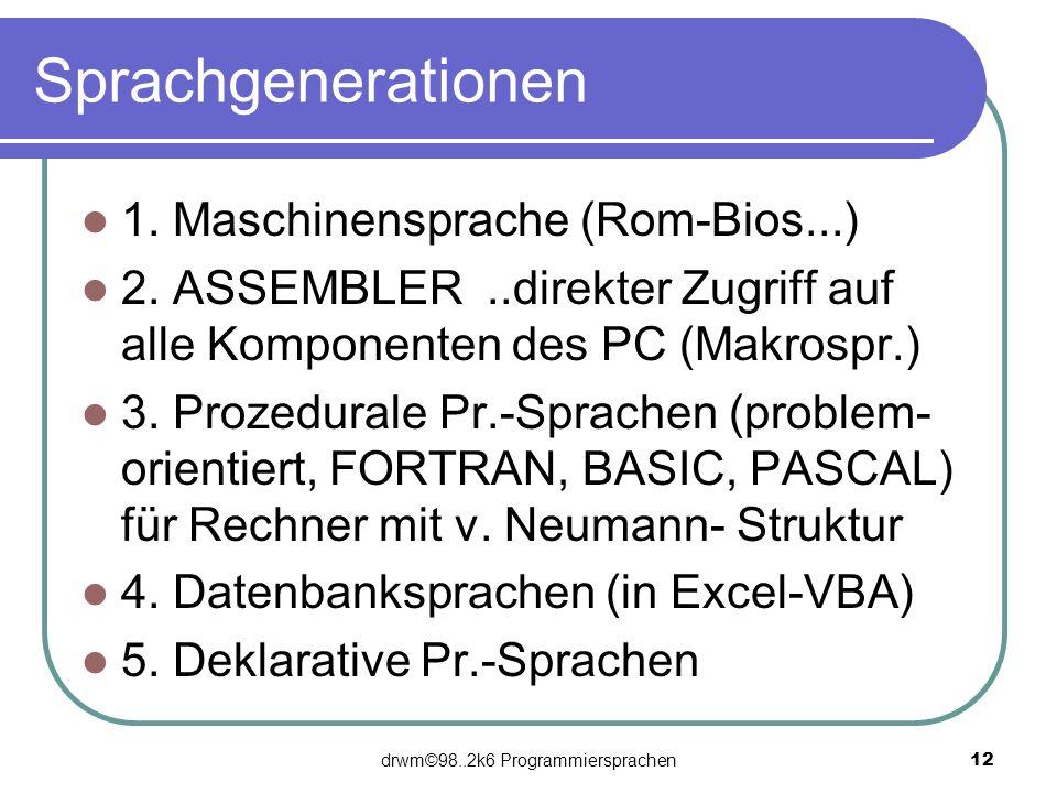 drwm©98..2k6 Programmiersprachen 12 Sprachgenerationen 1. Maschinensprache (Rom-Bios...) 2. ASSEMBLER..direkter Zugriff auf alle Komponenten des PC (M