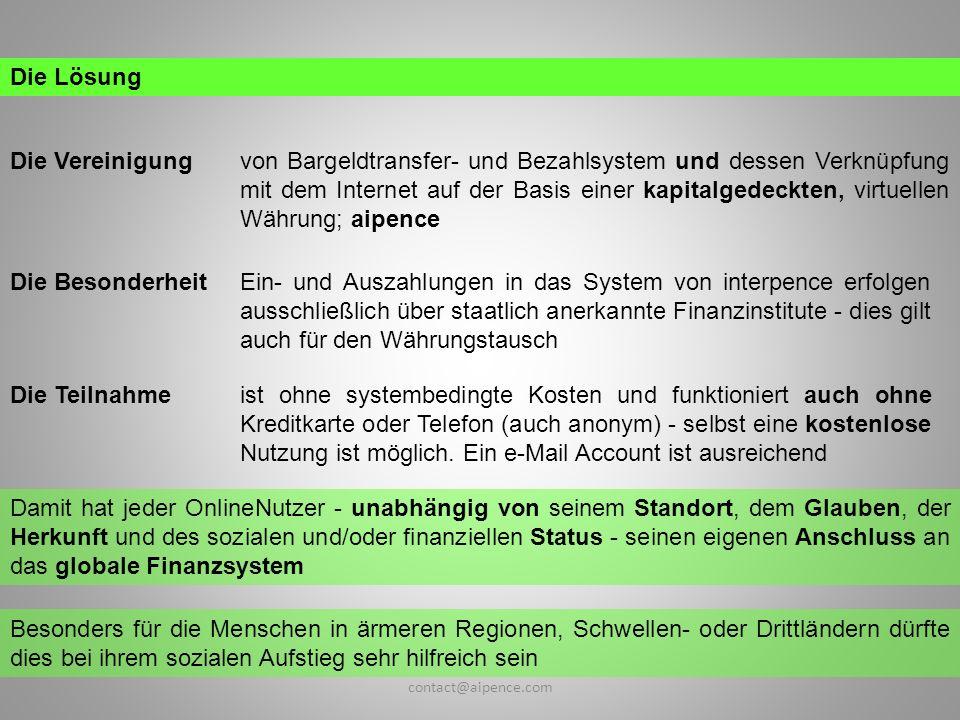 Die Vereinigung Die Lösung von Bargeldtransfer- und Bezahlsystem und dessen Verknüpfung mit dem Internet auf der Basis einer kapitalgedeckten, virtuel
