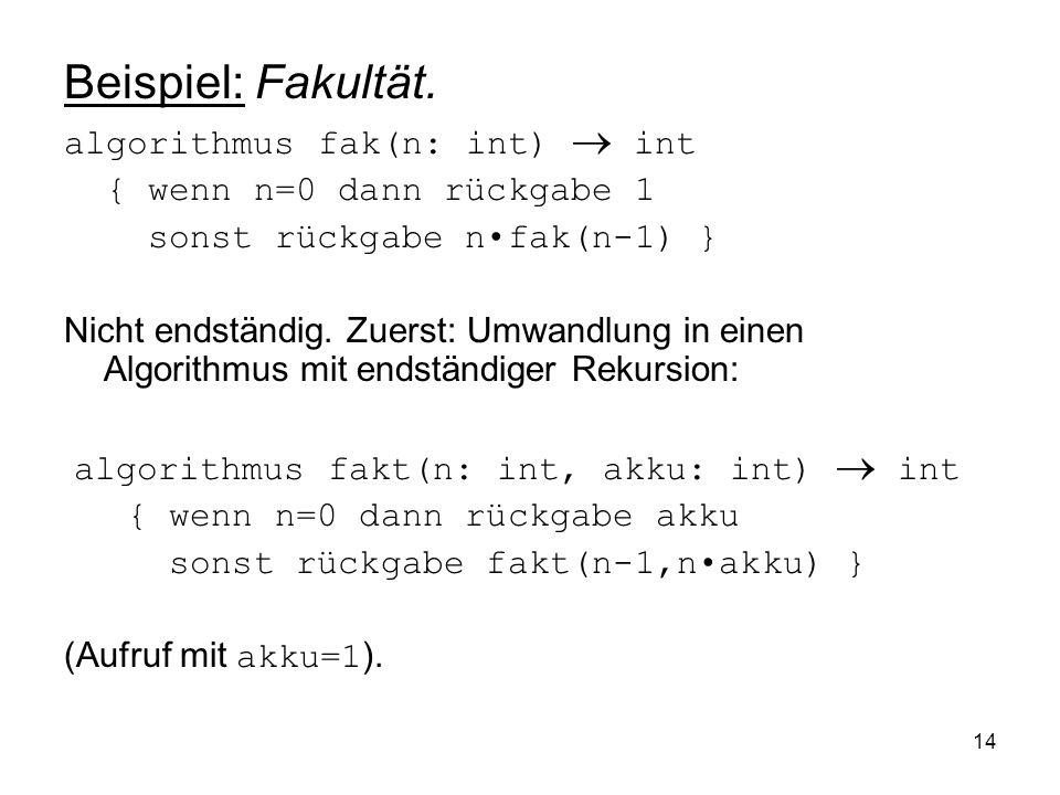 14 Beispiel: Fakultät. algorithmus fak(n: int) int { wenn n=0 dann rückgabe 1 sonst rückgabe nfak(n-1) } Nicht endständig. Zuerst: Umwandlung in einen