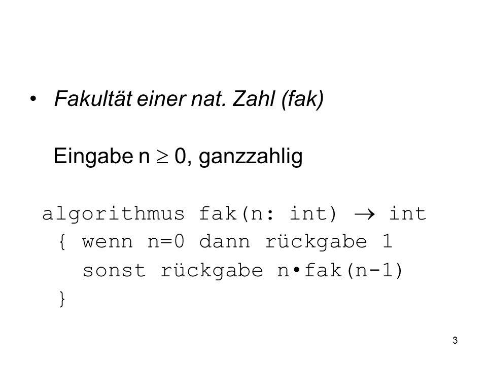 3 Fakultät einer nat. Zahl (fak) Eingabe n 0, ganzzahlig algorithmus fak(n: int) int { wenn n=0 dann rückgabe 1 sonst rückgabe nfak(n-1) }