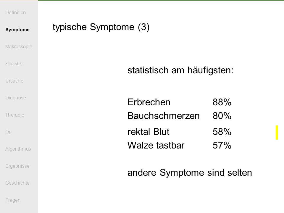 typische Symptome (3) statistisch am häufigsten: Erbrechen88% Bauchschmerzen80% rektal Blut58% Walze tastbar57% andere Symptome sind selten Definition