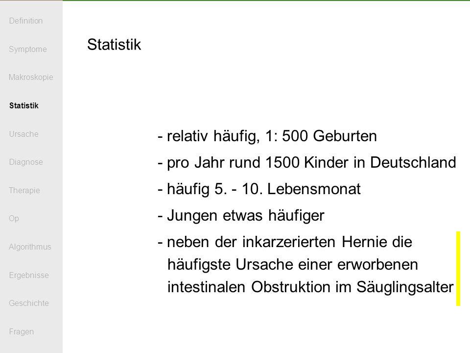 Statistik - relativ häufig, 1: 500 Geburten - pro Jahr rund 1500 Kinder in Deutschland - häufig 5. - 10. Lebensmonat - Jungen etwas häufiger - neben d