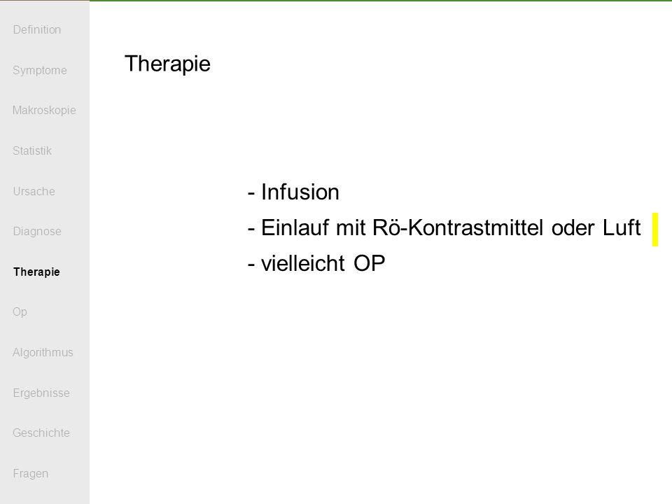 Therapie - Infusion - Einlauf mit Rö-Kontrastmittel oder Luft - vielleicht OP Definition Symptome Makroskopie Statistik Ursache Diagnose Therapie Op A