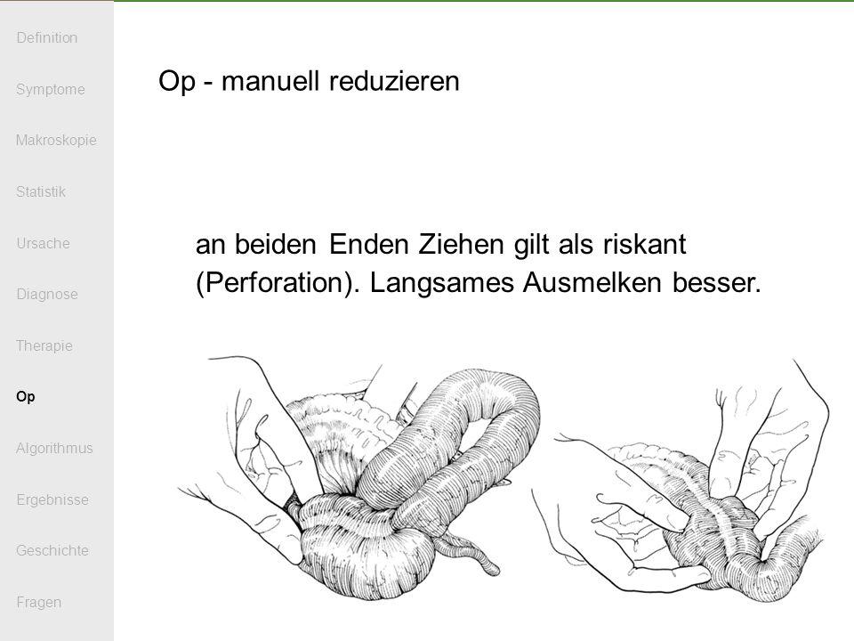 Op - manuell reduzieren an beiden Enden Ziehen gilt als riskant (Perforation). Langsames Ausmelken besser. Definition Symptome Makroskopie Statistik U