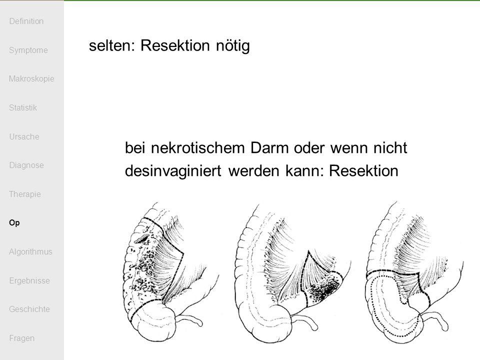 selten: Resektion nötig bei nekrotischem Darm oder wenn nicht desinvaginiert werden kann: Resektion Definition Symptome Makroskopie Statistik Ursache