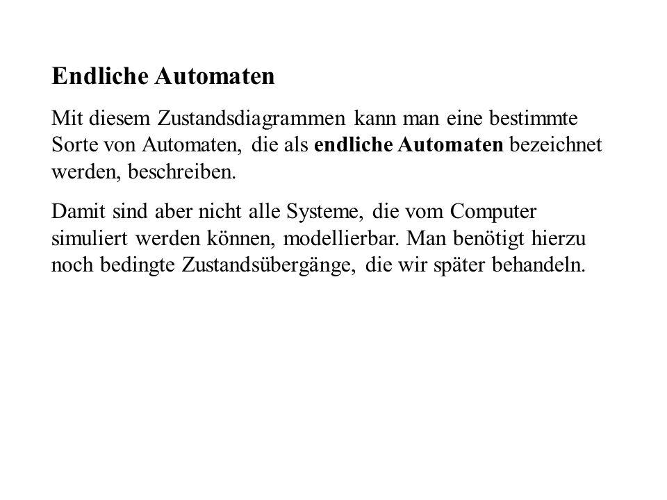 Endliche Automaten Mit diesem Zustandsdiagrammen kann man eine bestimmte Sorte von Automaten, die als endliche Automaten bezeichnet werden, beschreiben.