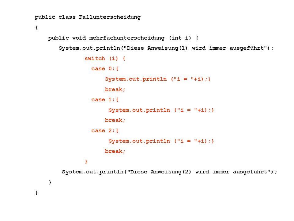 public class Fallunterscheidung { public void mehrfachunterscheidung (int i) { System.out.println( Diese Anweisung(1) wird immer ausgeführt ); switch (i) { case 0:{ System.out.println ( i = +i);} break; case 1:{ System.out.println ( i = +i);} break; case 2:{ System.out.println ( i = +i);} break; } System.out.println( Diese Anweisung(2) wird immer ausgeführt ); }
