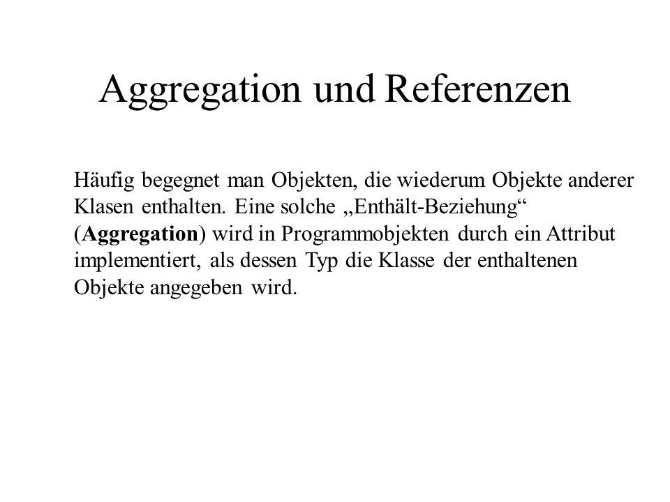 Aggregation und Referenzen Häufig begegnet man Objekten, die wiederum Objekte anderer Klasen enthalten. Eine solche Enthält-Beziehung (Aggregation) wi