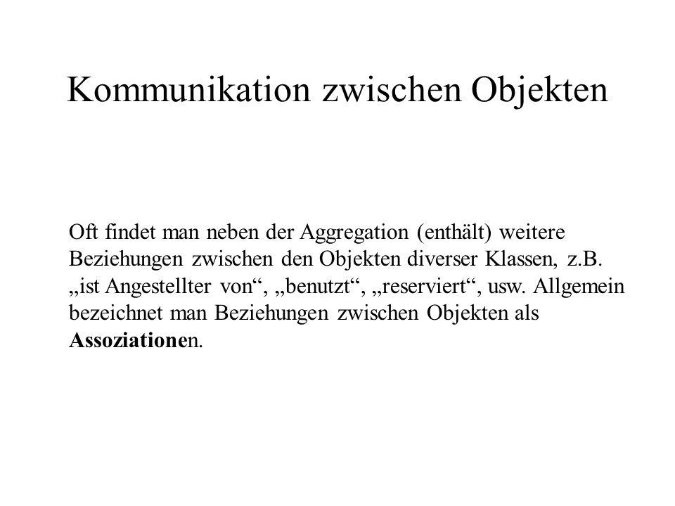 Kommunikation zwischen Objekten Oft findet man neben der Aggregation (enthält) weitere Beziehungen zwischen den Objekten diverser Klassen, z.B.