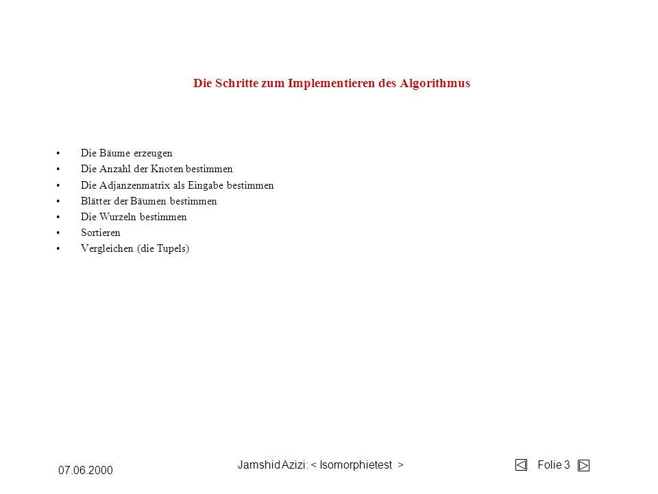 Jamshid Azizi: Folie 3 07.06.2000 Die Schritte zum Implementieren des Algorithmus Die Bäume erzeugen Die Anzahl der Knoten bestimmen Die Adjanzenmatrix als Eingabe bestimmen Blätter der Bäumen bestimmen Die Wurzeln bestimmen Sortieren Vergleichen (die Tupels)
