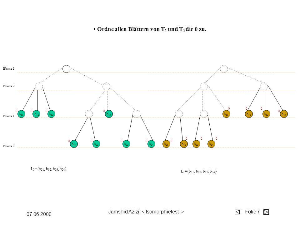 Jamshid Azizi: Folie 7 07.06.2000 b 04 b 03 b 02 b 01 b 14 b 13 b 12 b 11 Ebene 0 Ebene 1 Ebene 2 b 11 b 01 b 02 b 03 b 04 b 12 b 13 b 14 Ebene 3 Ordne allen Blättern von T 1 und T 2 die 0 zu.