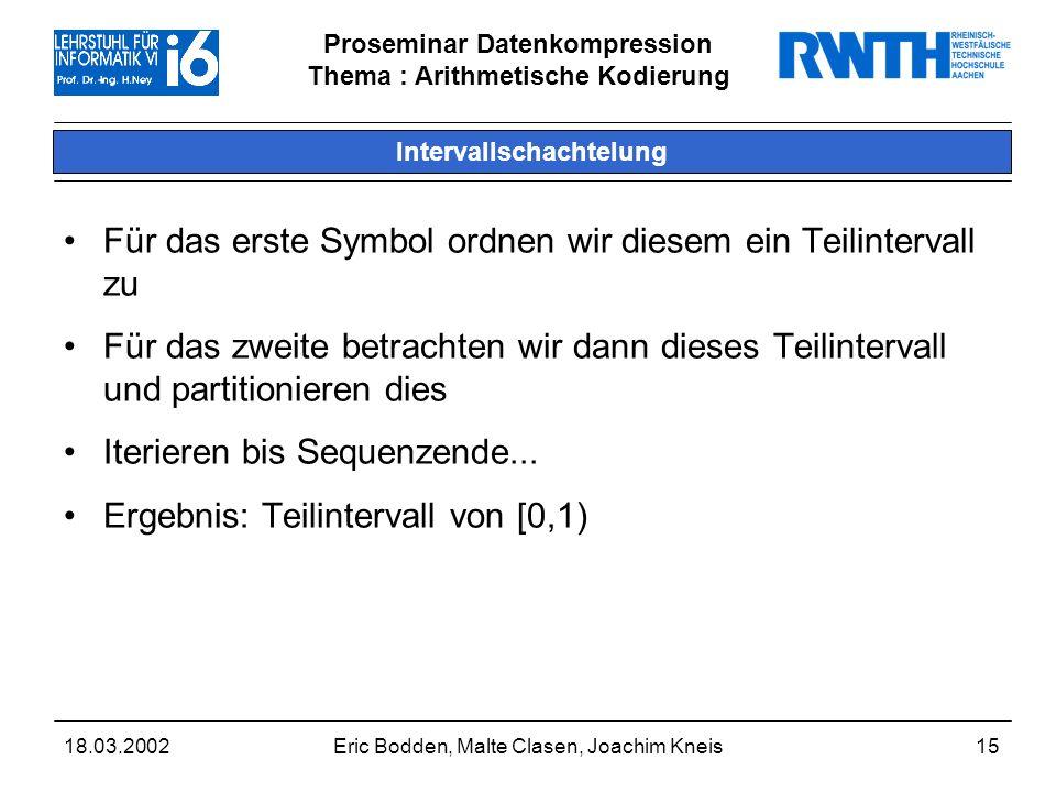 Proseminar Datenkompression Thema : Arithmetische Kodierung 18.03.2002Eric Bodden, Malte Clasen, Joachim Kneis15 Intervallschachtelung Für das erste Symbol ordnen wir diesem ein Teilintervall zu Für das zweite betrachten wir dann dieses Teilintervall und partitionieren dies Iterieren bis Sequenzende...