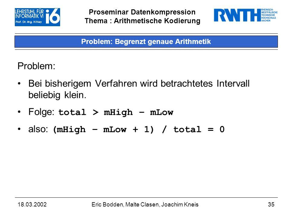 Proseminar Datenkompression Thema : Arithmetische Kodierung 18.03.2002Eric Bodden, Malte Clasen, Joachim Kneis35 Problem: Begrenzt genaue Arithmetik Problem: Bei bisherigem Verfahren wird betrachtetes Intervall beliebig klein.
