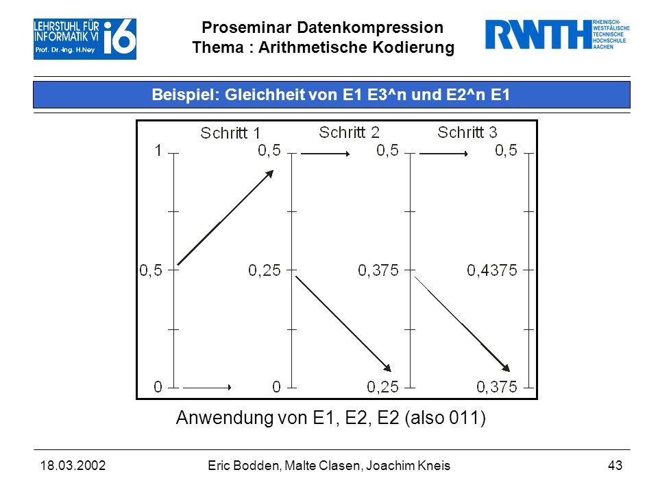 Proseminar Datenkompression Thema : Arithmetische Kodierung 18.03.2002Eric Bodden, Malte Clasen, Joachim Kneis43 Beispiel: Gleichheit von E1 E3^n und E2^n E1 Anwendung von E1, E2, E2 (also 011)