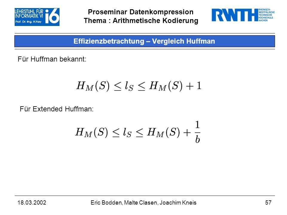 Proseminar Datenkompression Thema : Arithmetische Kodierung 18.03.2002Eric Bodden, Malte Clasen, Joachim Kneis57 Effizienzbetrachtung – Vergleich Huffman Für Huffman bekannt: Für Extended Huffman: