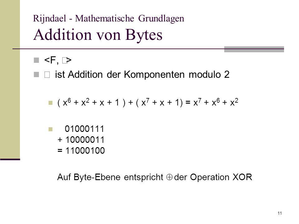 11 Rijndael - Mathematische Grundlagen Addition von Bytes ist Addition der Komponenten modulo 2 ( x 6 + x 2 + x + 1 ) + ( x 7 + x + 1) = x 7 + x 6 + x