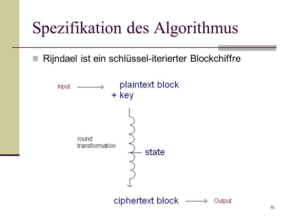 16 Spezifikation des Algorithmus Rijndael ist ein schlüssel-iterierter Blockchiffre