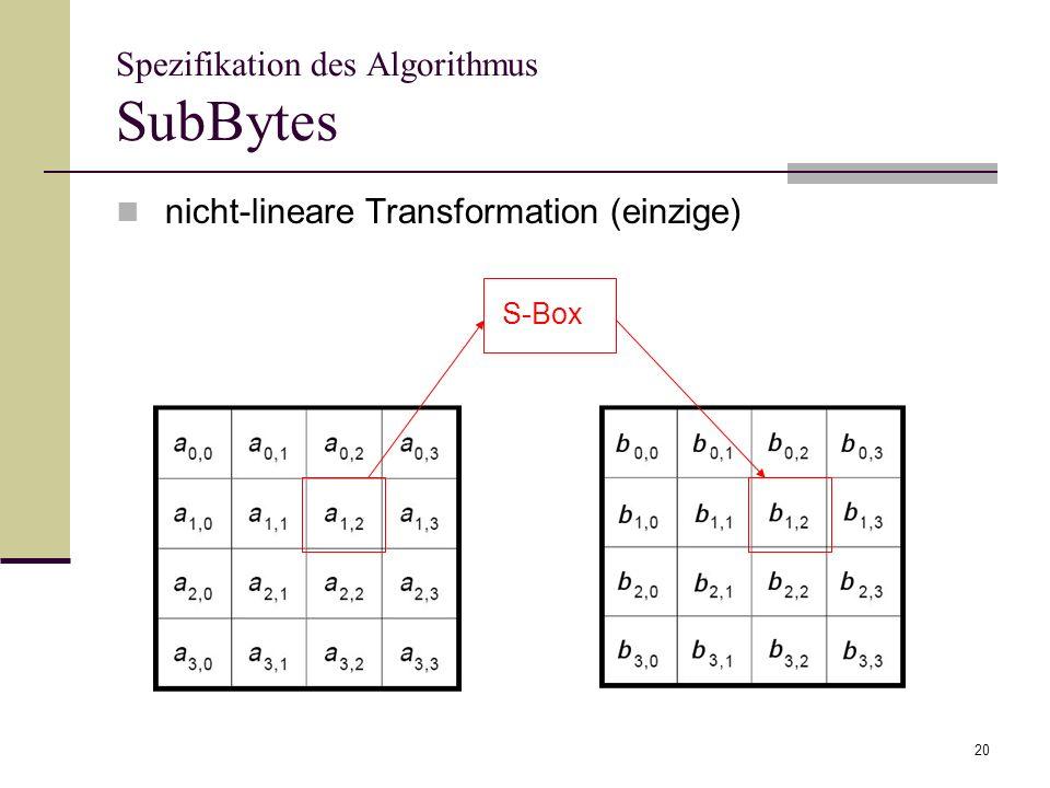 20 Spezifikation des Algorithmus SubBytes nicht-lineare Transformation (einzige) S-Box